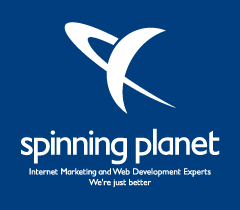 Spinning Planet Logo - Portrait on blue
